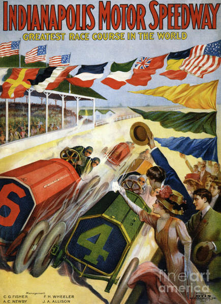 Wall Art - Painting - Vintage Poster Advertising The Indianapolis Motor Speedway by American School