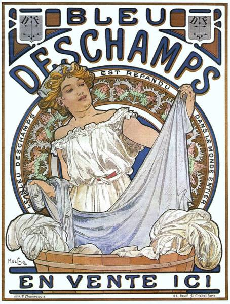 Screenprinting Painting - Vintage Poster - Bleu Deschamps by Vintage Images