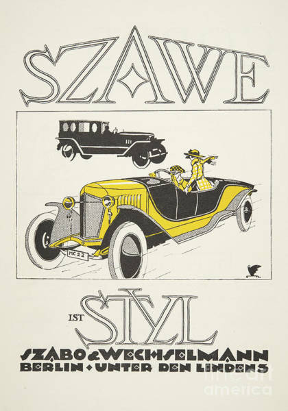 Scarf Drawing - Vintage Poster Depicting Classic Car From The Twenties by German School