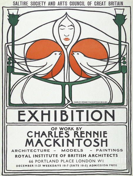 Charles Drawing - Vintage Poster Design By Charles Rennie Mackintosh by Charles Rennie Mackintosh