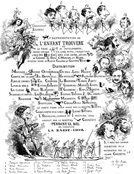 Wall Art - Drawing - Vintage Poster For Spoof Performance Of Verdi By Offenbach by Jules Cheret