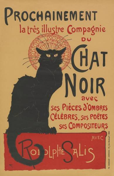 1923 Painting - Vintage Poster For The Tour Of Le Chat Noir by Alexandre Steinlen
