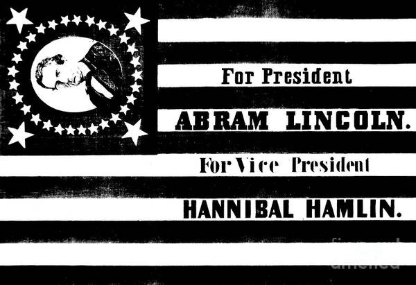 Drawing - Vintage Presidential Campaign Flag Of Abraham Lincoln For President by American School