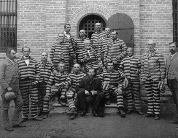 Prison Photograph - Vintage Prisoners In Striped Uniforms - 1889 by War Is Hell Store