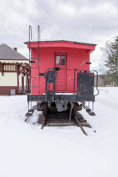 Wall Art - Photograph - Vintage Red Caboose In The Snow by Edward Fielding