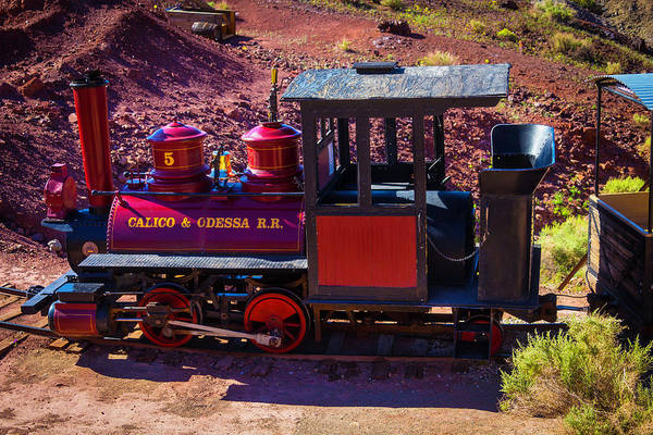 Wall Art - Photograph - Vintage Red Calico Train by Garry Gay