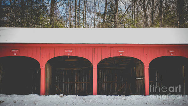 New England Barn Photograph - Vintage Red Carriage Barn Lyme by Edward Fielding