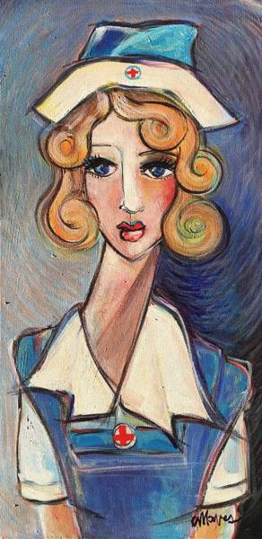 Painting - Vintage Red Cross Nurse by Laurie Maves ART
