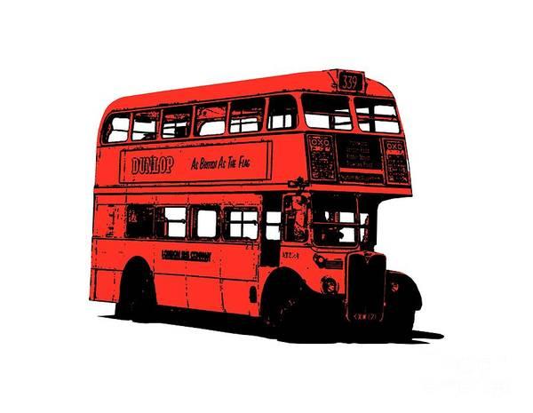 Sweatshirt Wall Art - Digital Art - Vintage Red Double Decker London Bus Tee by Edward Fielding