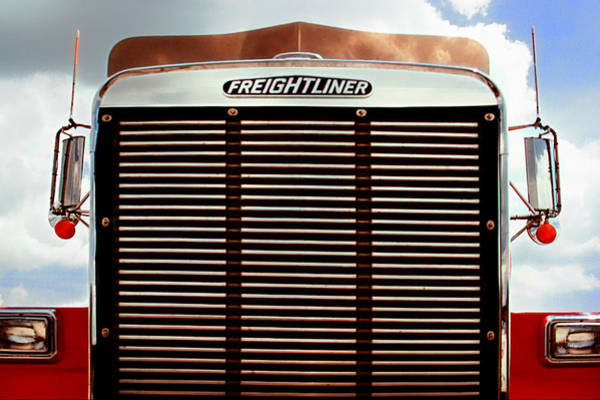 Freightliner Wall Art - Photograph - Vintage Red Freightliner Truck by Mitch Spence