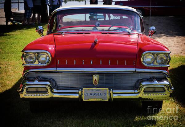 Photograph - Vintage Red Oldsmobile Car by Les Palenik