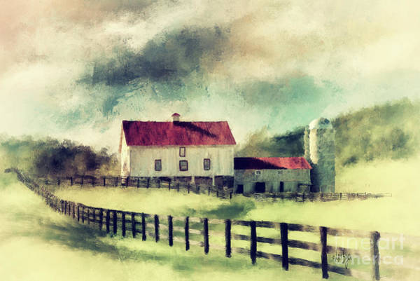 Wall Art - Digital Art - Vintage Red Roof Barn by Lois Bryan