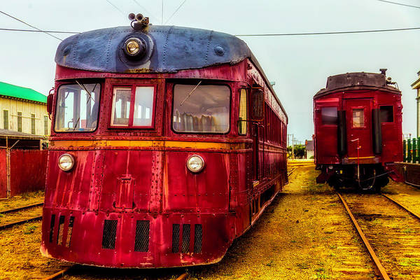 Railroad Car Photograph - Vintage Red Skunk Train by Garry Gay