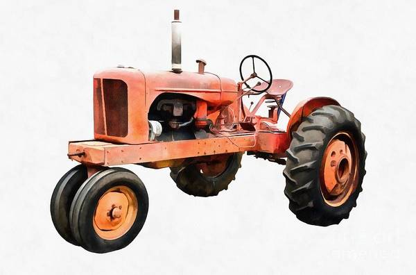 Old Tractor Digital Art - Vintage Red Tractor Painting by Edward Fielding