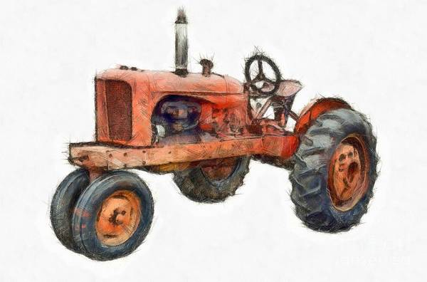 Digital Art - Vintage Red Tractor Pencil by Edward Fielding