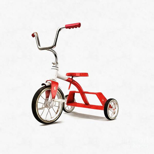 Wall Art - Digital Art - Vintage Red Tricycle by Edward Fielding