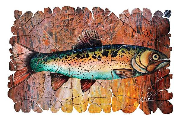 Digital Art - Vintage Red Trout Fresco  by OLena Art - Lena Owens