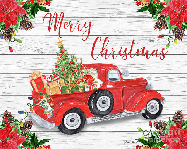 Wall Art - Digital Art - Vintage Red Truck Christmas-a by Jean Plout
