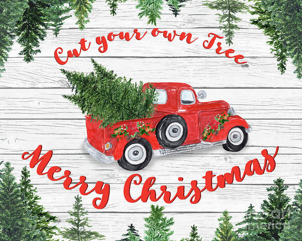 Wall Art - Digital Art - Vintage Red Truck Christmas-b by Jean Plout