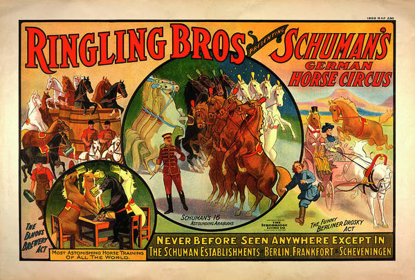 Advertisement Digital Art - Vintage Ringling Bros Presenting Schuman's German Horse Circus Poster by Mark Kiver