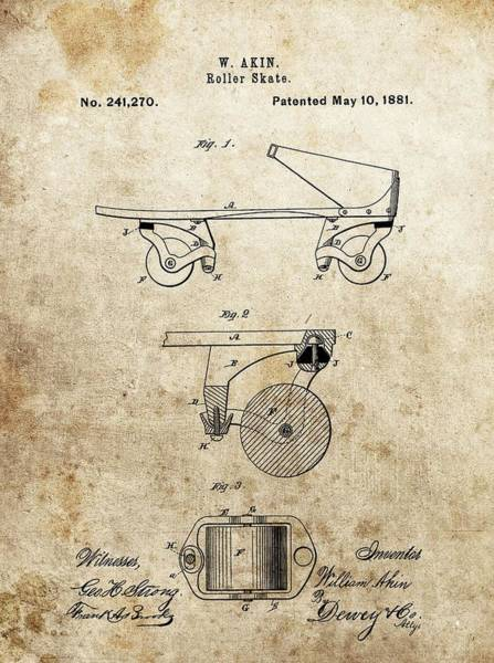 Fast Mixed Media - Vintage Roller Skate Patent by Dan Sproul