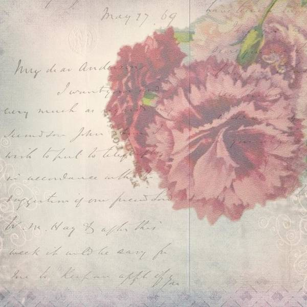Mixed Media - Vintage Rose And Antique Script by Vintage and Shabby Chic Art