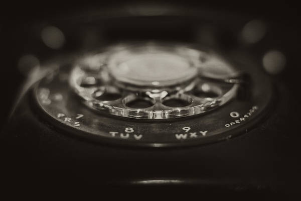 Photograph - Vintage Rotary Phone Black And White by Terry DeLuco