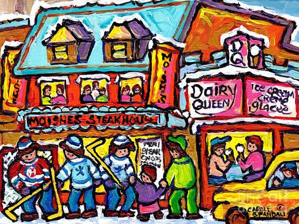 Painting - Vintage Rue St Laurent Moishe's Steakhouse Dairy Queen Montreal Winter Hockey Street Carole Spandau  by Carole Spandau