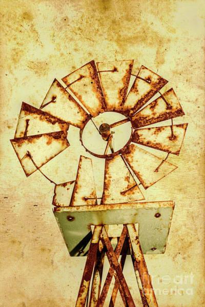 Wall Art - Photograph - Vintage Rusty Farm Windmill by Jorgo Photography - Wall Art Gallery