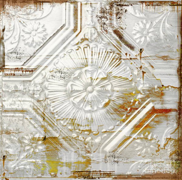 Ceiling Painting - Vintage Rusty Tin Ceiling Tile by Mindy Sommers