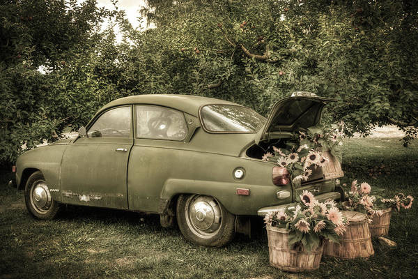 Photograph - Vintage Saab And Sunflowers by Joann Vitali