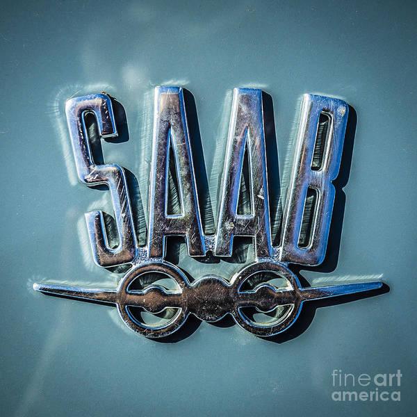 Wall Art - Photograph - Vintage Saab Car Emblem Logo by Edward Fielding