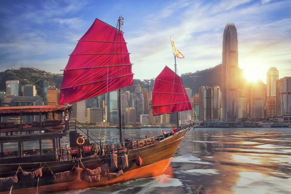 Hongkong Photograph - Vintage Sail Boat Fron Victoria Port To Hongkong Harbour by Anek Suwannaphoom