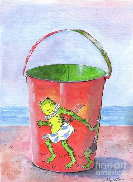 Sand Castle Painting - Vintage Sand Pail Dancing Frogs by Sheryl Heatherly Hawkins