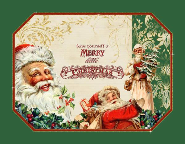 St Nicholas Painting - Vintage Santa Claus - Glittering Christmas 3 by Audrey Jeanne Roberts