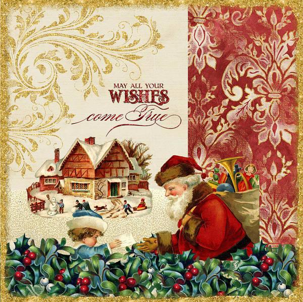 St Nicholas Painting - Vintage Santa Claus - Glittering Christmas 4 by Audrey Jeanne Roberts