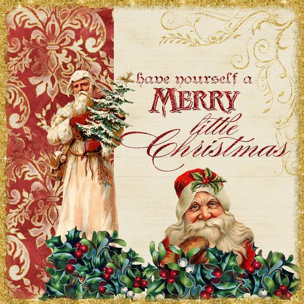 St Nicholas Painting - Vintage Santa Claus - Glittering Christmas by Audrey Jeanne Roberts