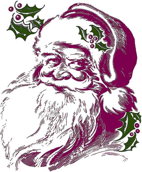 Digital Art - Vintage Santa With Holly by Joy McKenzie
