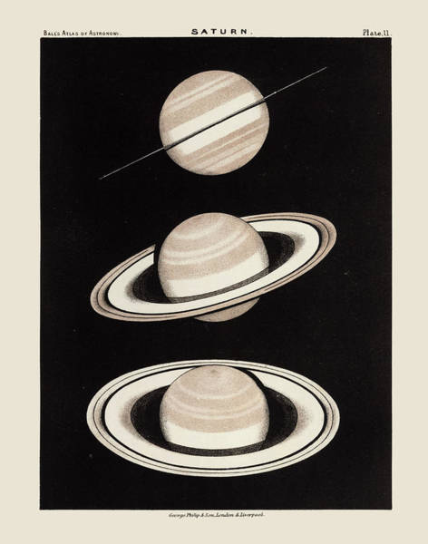Wall Art - Drawing - Vintage Saturn Print By Robert Stawell Ball - 1892 by Blue Monocle