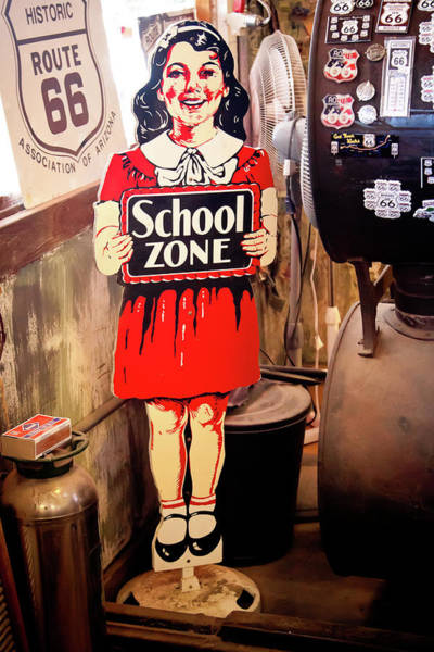 Photograph - Vintage School Zone Sign by Tatiana Travelways