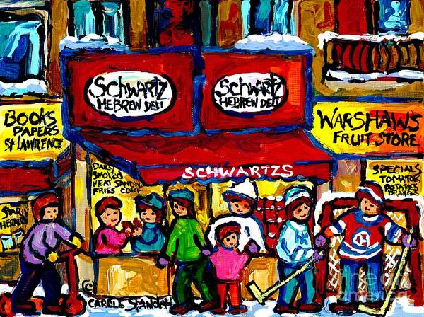 Painting - Vintage Schwartz Scene Rue St Laurent Montreal Winter Street Family Fun Hockey And Smoked Meat  by Carole Spandau