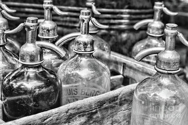Wall Art - Photograph - Vintage Seltzer Bottles In Crate Black And White by Paul Ward