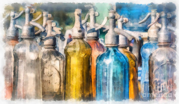 Wall Art - Photograph - Vintage Seltzer Bottles Watercolor by Edward Fielding