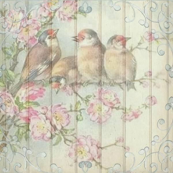 Vintage Shabby Chic Floral Faded Birds Design Art Print