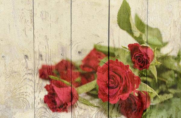 Mixed Media - Vintage Shabby Chic Red Country Roses On Wood Background by Shabby Chic and Vintage Art