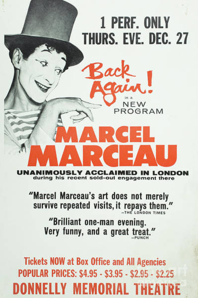 Wall Art - Photograph - Vintage Show Poster Marcel Marceau by Edward Fielding