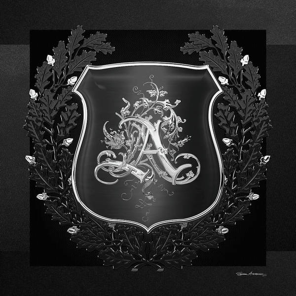 Digital Art - Vintage Silver Aa Monogram On Black Shield With Black Oak Wreath Over Black Canvas by Serge Averbukh