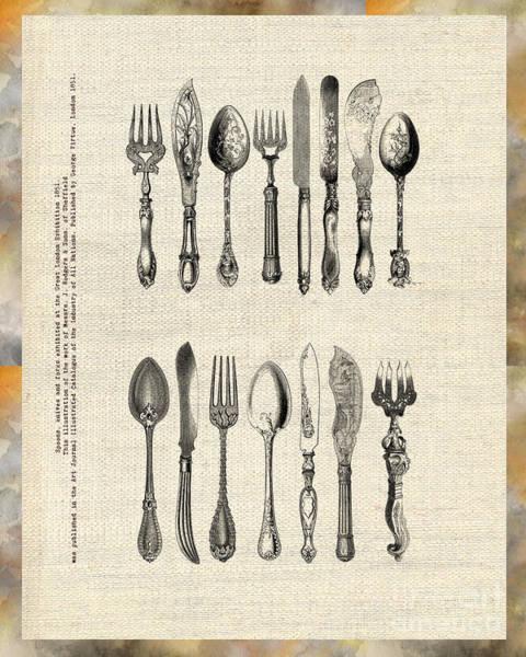 Drawing - Vintage Silverware by Ariadna De Raadt