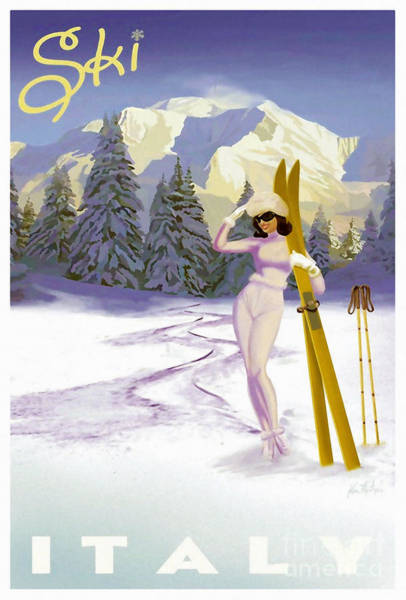 Skiing Painting - Vintage Skiing Glamour by Mindy Sommers
