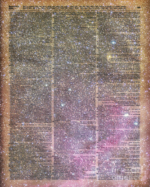 Wall Art - Digital Art - Vintage Space Dictionary Book Page by Anna W